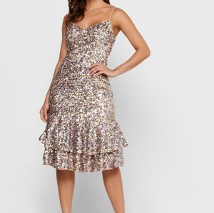 NWT Adrianna Papell Pink Multi Sequin Slip Dress